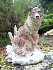 Mo0196 Figurine Statuette Loup Louve Et Son Bebe Neige Animal Sauvage Tqdn1oom-07224819-828579080