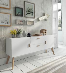 W 900 Dupen Design Sideboard Eiche Weiß Kommode Schrank Holz
