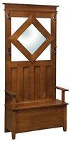 Amish Solid Oak Hall Seat Coat Tree Rack Entryway Storage Bench Mirror