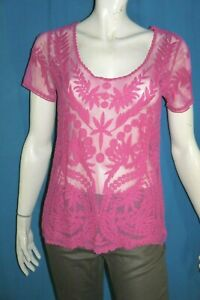 VILA-CLOTHES-Taille-M-38-Superbe-haut-top-tee-shirt-manches-courtes-rose-femme