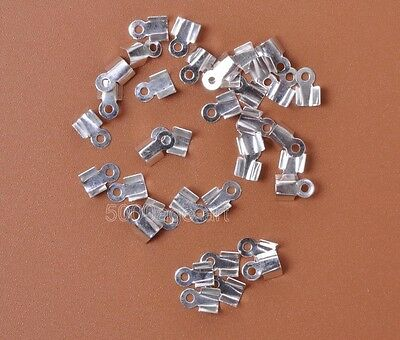 200Pcs  Metal Double Caps End Crimps beads tips 4 x 6mm Findings 5 color