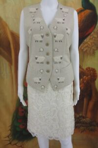 ESCADA-Womens-38-M-SHEEP-IVORY-WOOL-Cashmere-BLEND-Vest-Jacket-SNAKE-PRINT