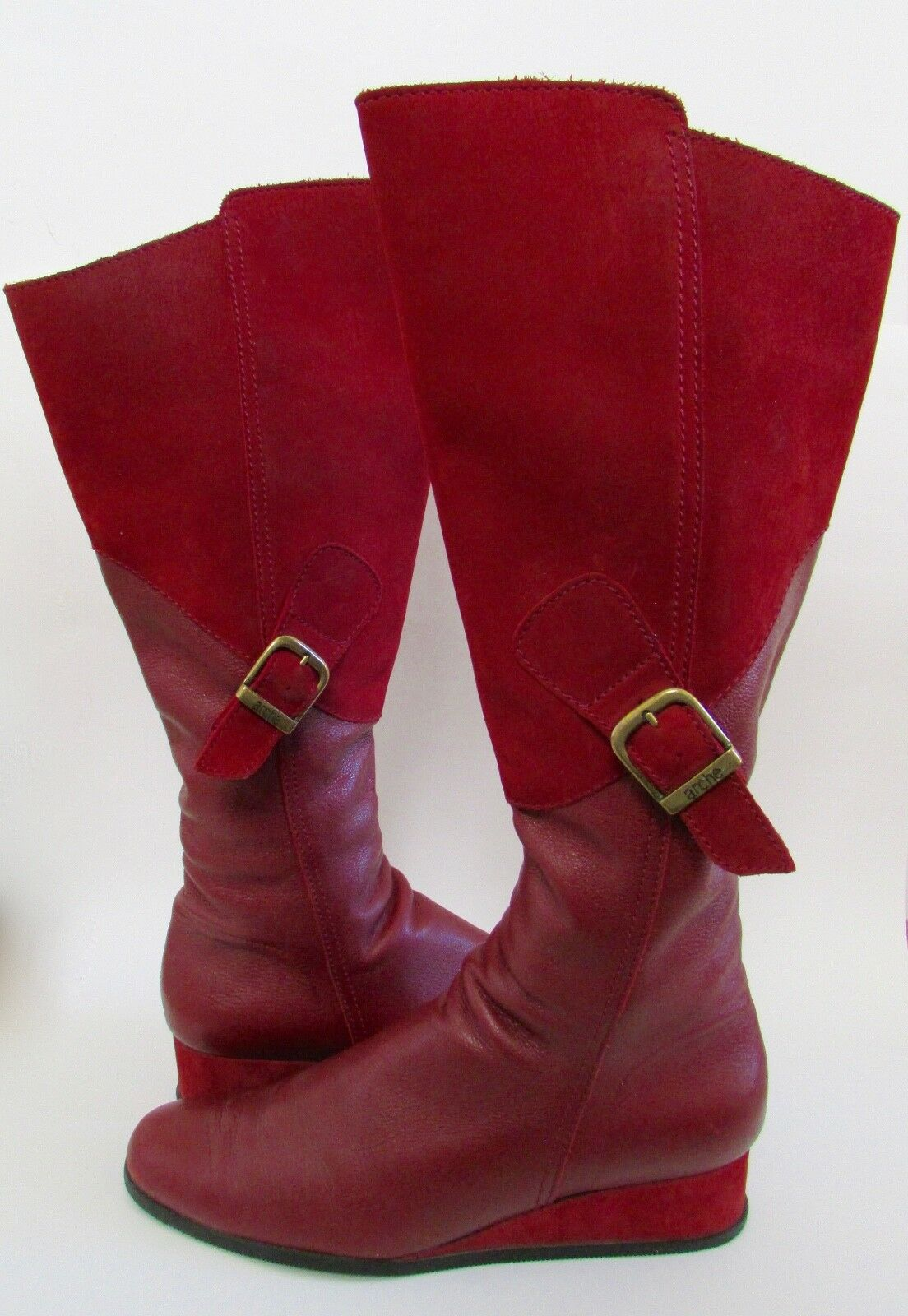 ARCHE France Red Suede Leather Knee High Wedge Boots Sz 40.5   9.5