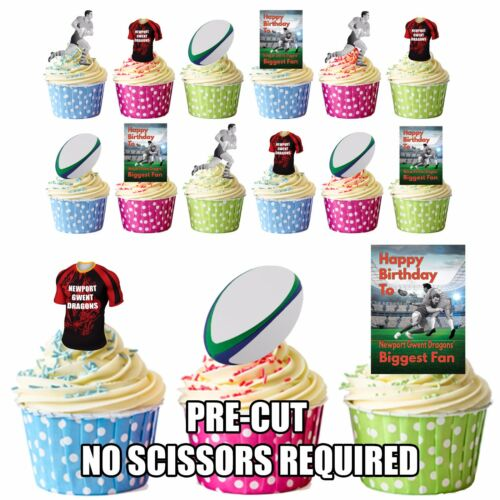 Birthday Edible Cupcake Toppers PRECUT Newport Gwent Dragons Rugby Fan
