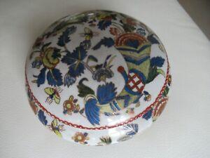 Ancienne Boite Bonbonnière En Céramique Peinte à La Main
