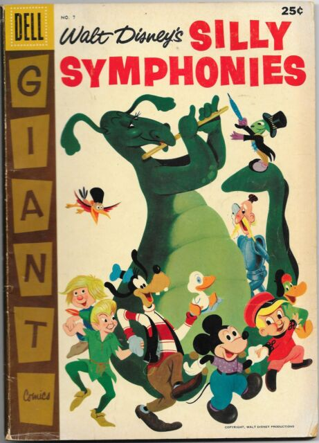 Silly Symphonies #7, Dell Giant 1957, Reluctant Dragon, 80 pages VG