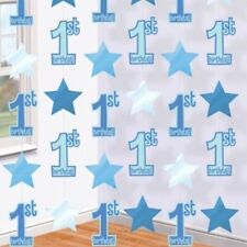 6 X 7ft Blue Baby Boy 1st Birthday Party Hanging String Decorations