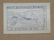 Ex-Libris ancien lithographie Schenck de Vos Bogaerts 1933 Vintage