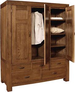 Sandringham solid oak bedroom furniture triple wardrobe with ...
