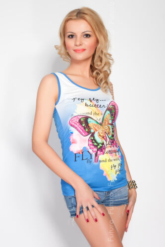 Exclusive High Quality Vest Top Butterfly Motive Scoop Neck Sizes 8-12 FC3100