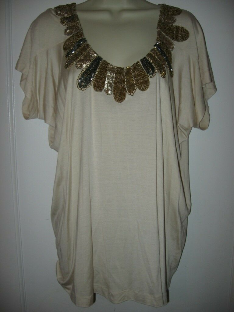 DVF Diane Von Furstenberg THEMIA Sequin Embellished Beaded Top Blouse Tunic M