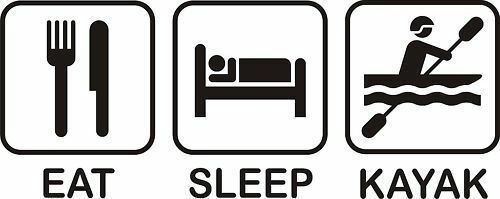 EAT SLEEP KAYAK IRON ON T SHIRT TRANSFER LARGE A4 SIZE