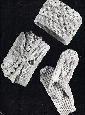 Knitting Pattern- Aran Vintage hat and mits knitting pattern