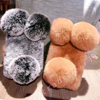 Lovely Panda Design Bling Diamond Warm Furry Rabbit Fur Pendant Case Cover Skin
