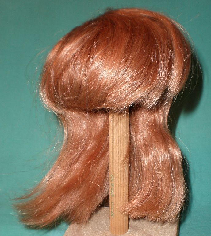 Strawberry blond human hair doll wig, 10  to 11 , long hair