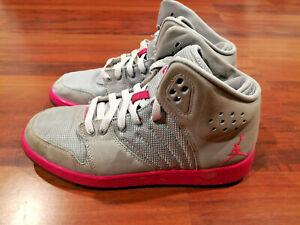 261be824072a00 Nike AIR Jordan 1 Flight 4 Premium Girls Basketball Shoes Gray Pink ...