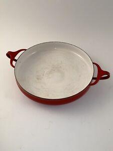 Vintage-Dansk-Kobenstyle-Jens-Quistgaard-IHQ-Large-Red-Enamel-Paella-10-Pan