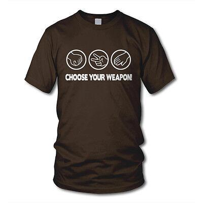 CHOOSE YOUR WEAPON - Stein, Schere, Papier - Kult T-Shirt - Funshirt für Geeks