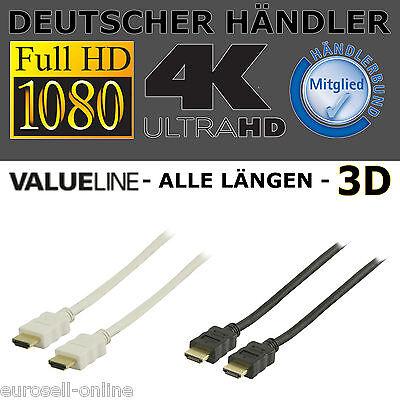 1M 5M 2M 10M 15m HDMI Kabel 4K 3D FULL HDTV HD TV Highend mit Ethernet PC PS4 !