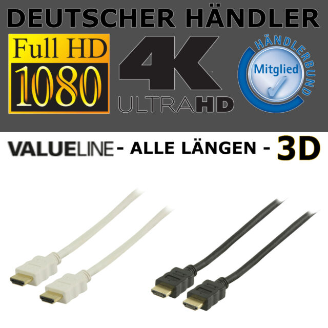 1M 5M 2M 10M 15m HDMI Kabel 4K 3D FULL HDTV HD TV Highend mit Ethernet PC PS4 !