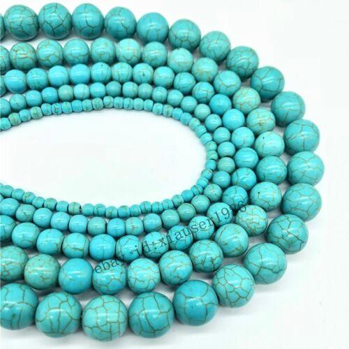 Piedras Preciosas Naturales Piedras suave azul turquesa redonda suelta granos 4 6 8 10 12mm