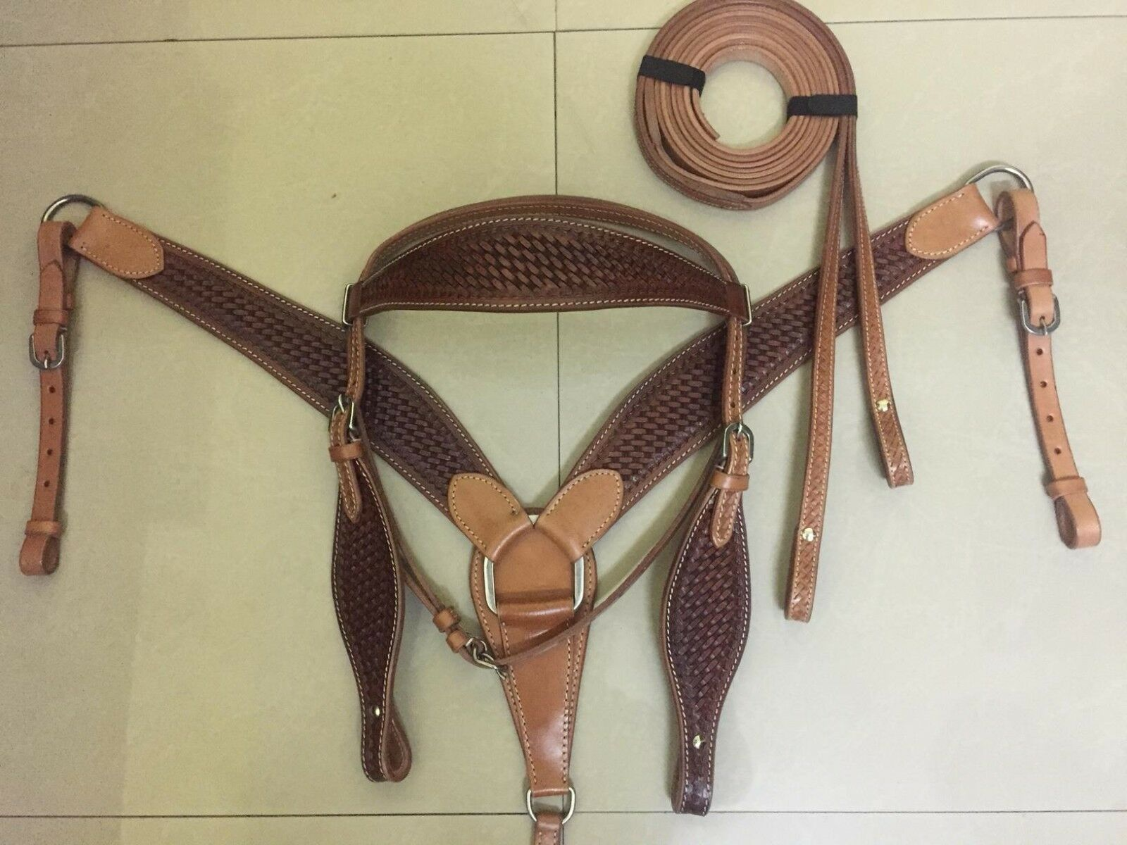 Western Two  Tone Leather Set of  Headstall BreastCollar and Leather Reins  free shipping on all orders