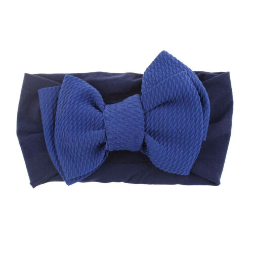 Kids Baby Soft Elastic Bow Headwrap Baby Top Knot Nylon Wide Headband Turban DIY