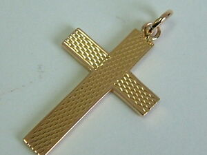 VINTAGE-9CT-ROSE-GOLD-SMALL-PATTERNED-CROSS-PENDANT