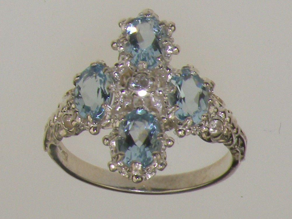 9ct White gold Natural Diamond & AAA Aquamarine Womens Cluster Ring
