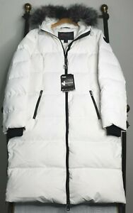 NEW-PAJAR-Large-Womens-Duck-Down-White-Hooded-Winter-Puffer-Parka-Coat-NWT-595