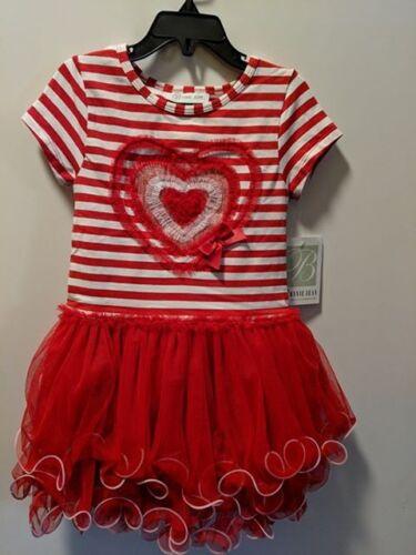 Bonnie Jean Little Girls St Valentine/'s Heart Birthday Tutu Red Dress  2T-6X