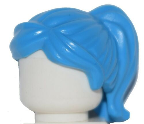 ☀️NEW Lego Minifig Hair Female Girl Hot Bright Blue Azure Ponytail with Bangs