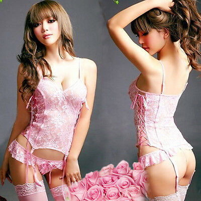 Sext Women Mermaid Lingerie Set Bridal Lace Belted Corset Top+G-String+Stockings
