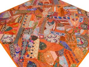 Quilt-Patchwork-Orange-King-Indian-Handmade-Bedspread-Bed-cover-Vintage-Boho
