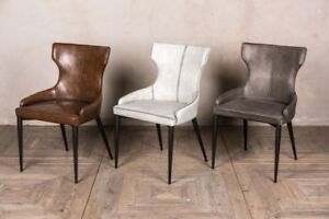 Wingback Dining Chair Leather Look Upholstered Dining Chair Kitchen Chair Ebay
