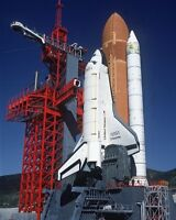 8x10 Nasa Photo: Space Shuttle Enterprise In Launch Position On (slc) 6