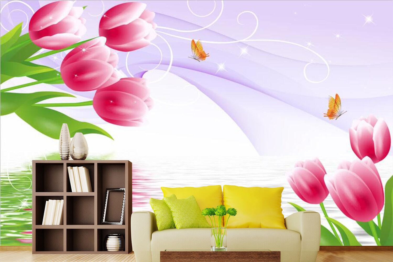 3D Rosa Tulpen Tulpen Tulpen Wasser 8793 Tapete Wandgemälde Tapeten Bild Familie DE Kyra   Hohe Sicherheit    Die Königin Der Qualität    Ausreichende Versorgung  3f39cf