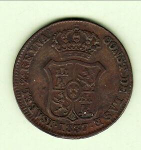 Espagne Isabel Ii Cataluna 3 Cuartos 1837 Double 7 !!!!!