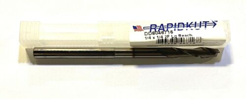 """Rapidkut 1//4/"""" Solid Carbide End Mill TiCN Coated Long Reach 2 Flute USA Made"""
