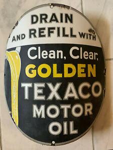 1930-039-s-RARE-Vintage-GOLDEN-TEXACO-MOTOR-OIL-curved-sign-15-034-porcelain-pump-plate