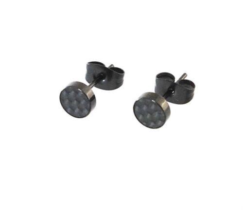 Titan Titanium Ohrstecker Ohrringe runde schwarze Carbon Biker Herren Männer 6