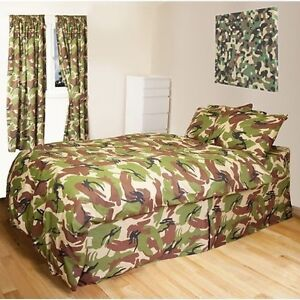 KIDS ARMY BEDROOM BEDDING CURTAINS SINGLE DUVET COVER