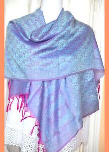 Banaras-Silk-Pink-silver-Color-Woven-Paisley-Floral-Design-Shawl-Wrap-Stole