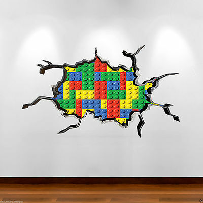 COLOURED BRICKS 3D Full Colour Wall Art Sticker Mural Decal Graphic Boys Bedroom