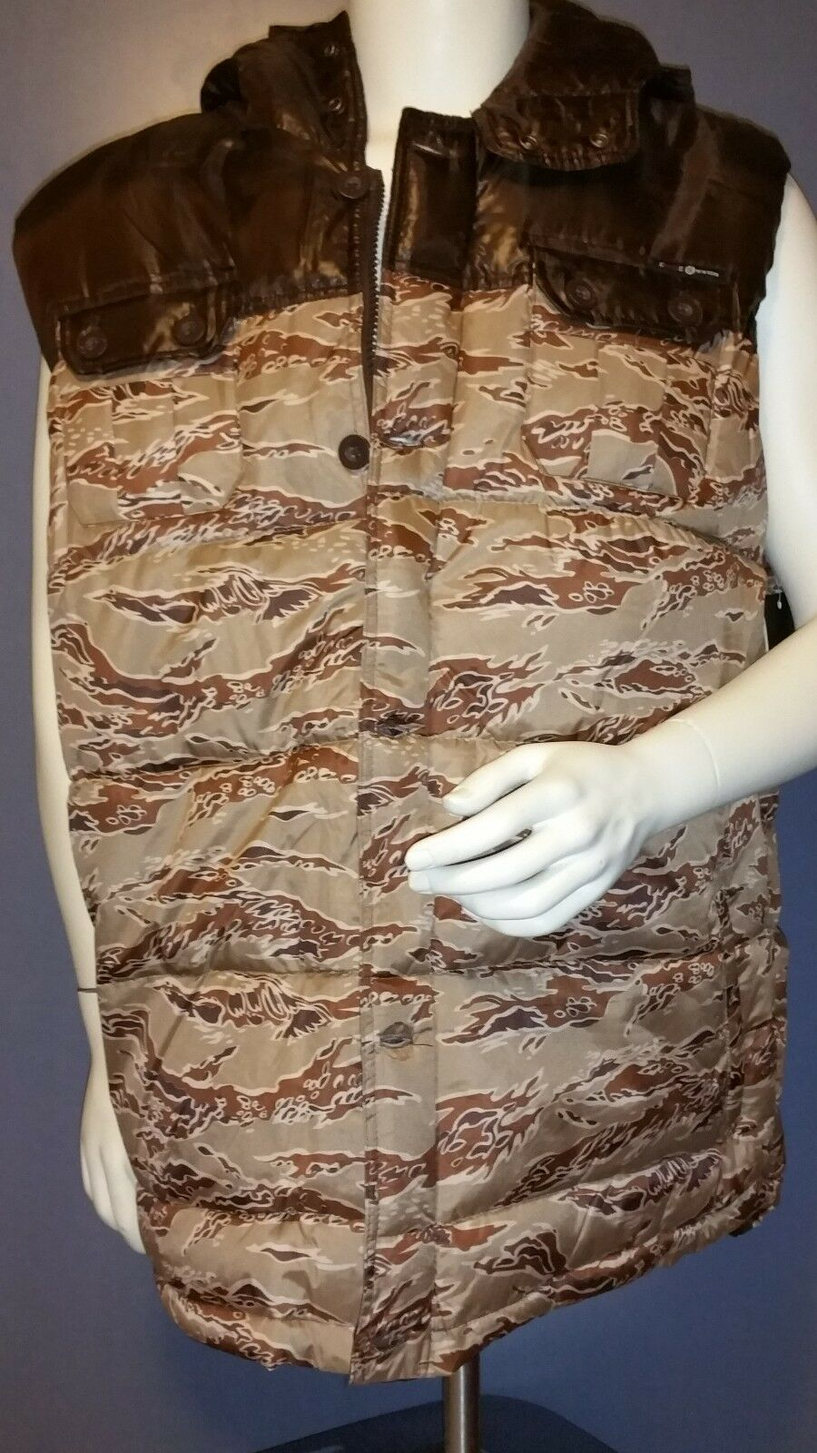 Men Enyce a Sean Jean Co Vest 4XL Padded Brown Camouflage Hunting NWT