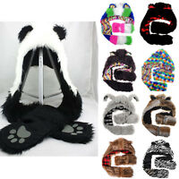KIDS LADIES LONG ANIMAL HATS HOOD SCARF FLEECE LINED POCKET SNOOD HAT WINTER FUR