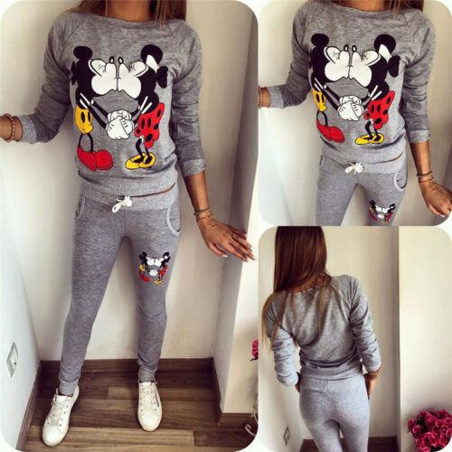 Damen PrintedCartoon Trainingsanzug Jogginghose Pullover Top Sport Anzug Mode