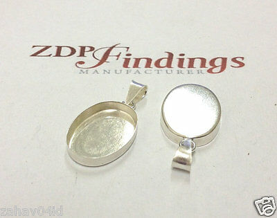 2pcs x Oval 20x15mm Bezel with Bail Sterling Silver 925 (POV2015)