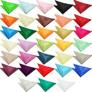 Mens-Solid-Plain-Satin-Pocket-Square-Handkerchief-Wedding-Accessories-by-DQT