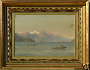 C-F-SORENSEN-FJORD-WITH-SHIPS-AND-GEESE-LISTED-19-c-SIGNED-OIL-PAINTING